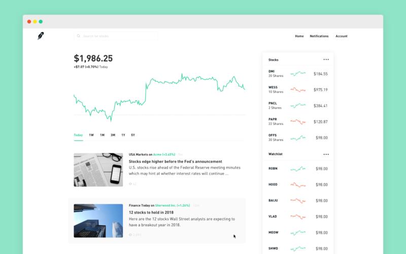 Webová platforma Robinhood